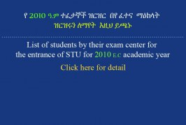 List of Students by their entrance Exam Center
