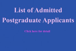 List of Admitted Postgraduate Applicants and Registration Schedule