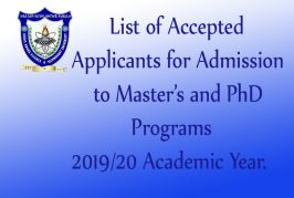 List of Accepted Applicants for Admission to Master's and PhD. Programs 2019/20 AY