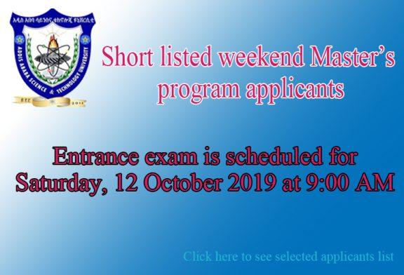 Short listed weekend Master's program applicants