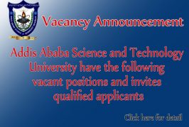 Addis Ababa Science and Technology University has the following vacant positions and invites qualified applicants
