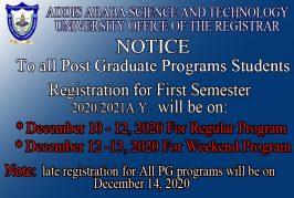 To all Post Graduate program Students