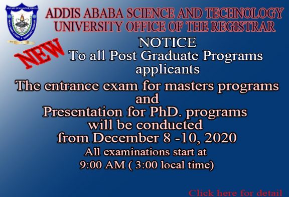 To all Postgraduate applicants Entrance Exam date and time