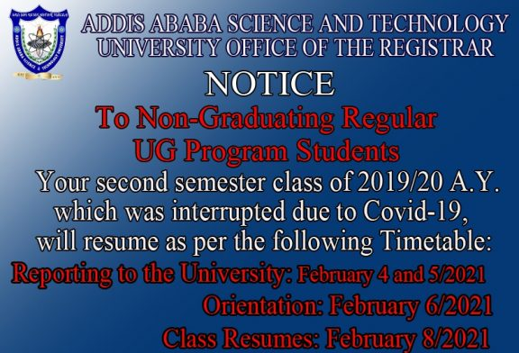 To all Non-Graduating Regular UG Program Students