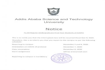 To All Regular Undergraduate Final Year Students of AASTU